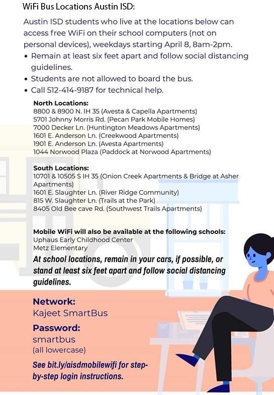 WiFi Bus Locations for Austin ISD ENGLISH